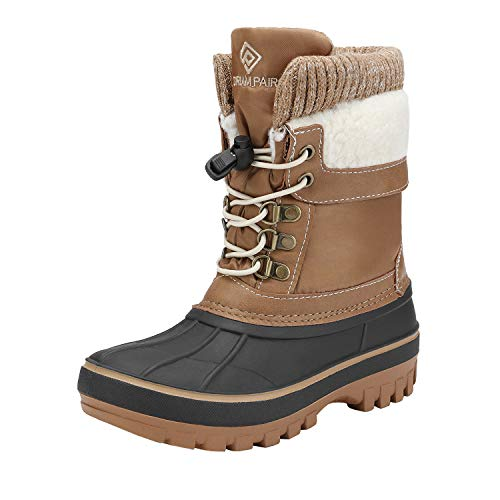 DREAM PAIRS Boys Girls Cold Weather Insulated Waterproof Winter Snow Boots Size 6 M US Big Kid KMONTE-1 Tan