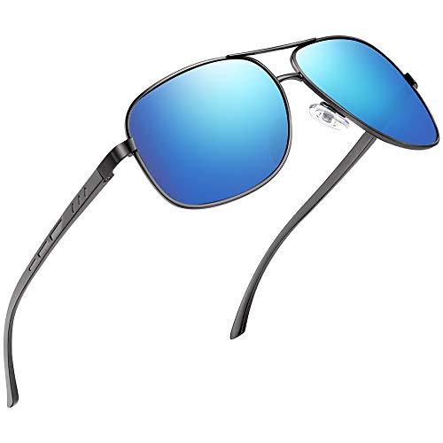 Joopin Gafas de Sol Hombre Polarizadas Aviador UV400 Protección Clásicas Cuadradas Retro para Conducir y Deportes al Aire Libre Negras Azul