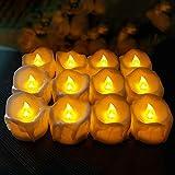 Hautton【Lot de 12】 Bougie LED Bougie Chauffe Plat, LED Flamme Chaud avec Lumière Scintillante Rechargeable pour Mariage...