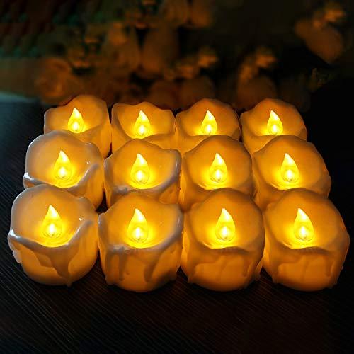 LED-theelichtkaarsen, kaarsen, met flikkerend vlam, werkt op batterijen, vlamloos, kaars, theelichtjes voor buiten, Kerstmis, Pasen, bruiloft, feest, batterijen inbegrepen, wit