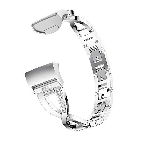 Yimiky Correa de reloj para Fitbit Charge 3, acero inoxidable X-Link, correa de repuesto para reloj deportivo Fitbit Charge 3