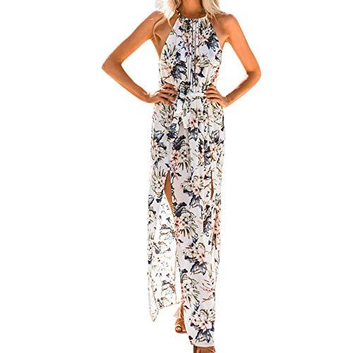 Vestido de Noche de Color sólido con Cuello Moldeado y Vestido de Estilo Bohemio con Abertura Alta(Blanco-1,XL)