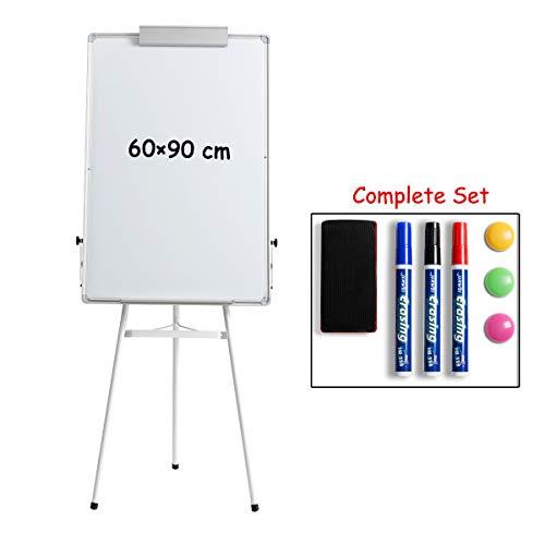 DOEWORKS 90cm x 60cm Whiteboard mit Dreibein Ständer, magnetisch trocken abwischbares Board/Flipchart-Staffelei-Whiteboard, höhenverstellbares Standboard