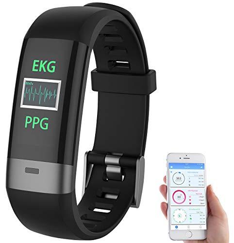 Newgen Medicals Pulsuhr: Fitness-Armband, Blutdruck-/Herzfrequenz-/EKG-Anzeige, Bluetooth, App (Smartwatch Blutdruck)