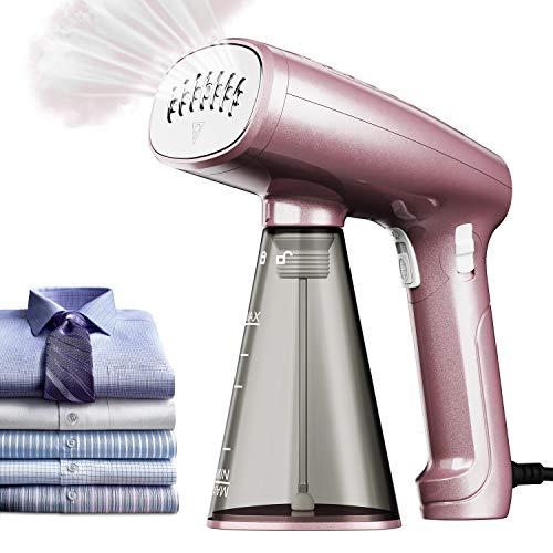 AMTOK Dampfglätter Mini Dampfbürste Reisebügeleisen 1500W Garment Steamer mit 320 ml austauschbarem Wassertank Geeignet für Zuhause und Reisen