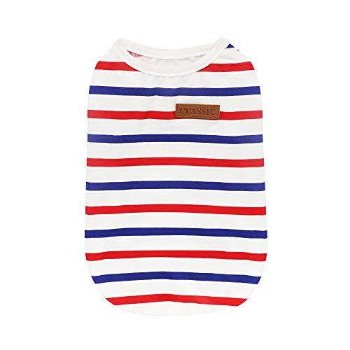 YAODHAOD Hundekleidung Gestreiftes T-Shirt, Weich und Bequem, Geeignet für Kleine und Mittlere Hunde (XL)