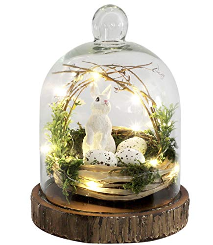 Home Lighted Easter Basket Cloche with Eggs and Bunny Rabbit