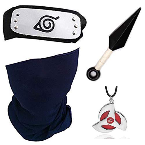 4 Stück Naruto verstellbares Metallblatt Dorf Stirnband Ninja Uchiha Sasuke Kakashi Cosplay Set Halskette (Kakashi Maske Stirnband)