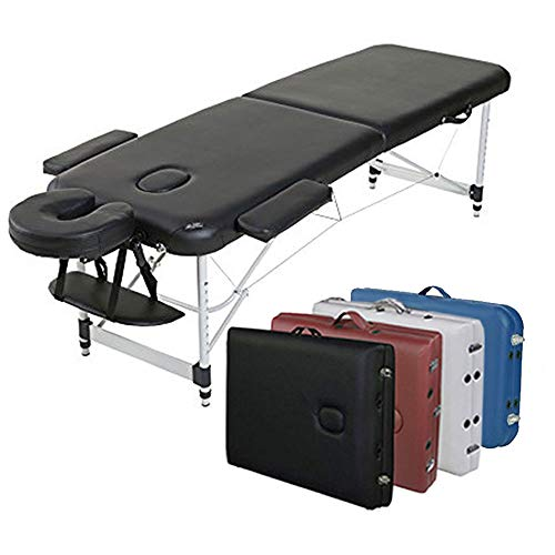 """Angel USA Ultra Light Weight Sturdy Aluminum Frame 84""""L Portable Massage Table Facial SPA Bed Tattoo w/Free Carry Case, Face Cradle, Arm Rests (Black)"""