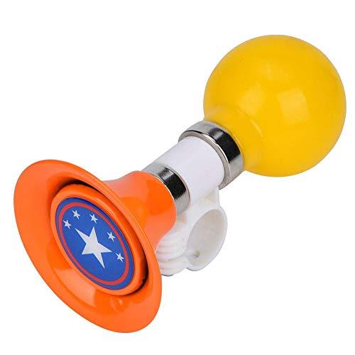 Vbestlife Gummi Kinderfahrrad Hupe, Metall Gummi Laut Kinderfahrrad Hupe Fahrrad Warnglocke für Jungen Mädchen Fahrradzubehör(Orange)