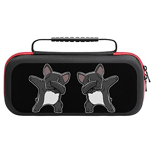 Dabbing French Bulldog Carrying Storage Cases for Nintendo Switch Protective Portable Hard Shell Pouch Carrying Travel Game Bag