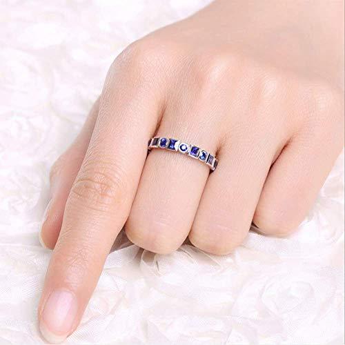 Natuurlijke saffier ring ingelegd met diamanten dames eenvoudige open ring geschikt voor verlovingsgeschenken voor koppels,US code 7