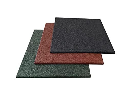 Pack 4 losetas de caucho 50 x 50 x 2 cm, suelo gimnasio caucho para entrenamiento, suelo de gimnasio (4 losetas (1 m²), Negras)