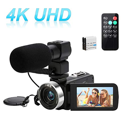 4K 48MP Video Camera Camcorder, Digital YouTube Vlogging Camera, 16X Digital Zoom 3 Inch Touch Screen Video Recorder with Remote Control and Microphone, 2 Batteries
