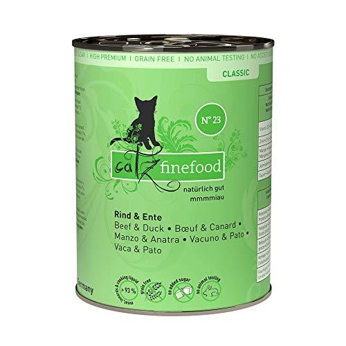 catz finefood N° 23 Rind & Ente Feinkost Katzenfutter nass, verfeinert mit Cranberry & Aloe Vera, 6 x 400g Dosen