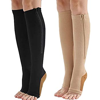 Zipper Compression Socks 2 Pairs Copper Infused for Women Men with Open Toe Toeless 15-20 mmHg Sock Knee High Zip Support Compression Stocking