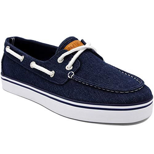 Nautica Men's Galley Lace-Up Boat Shoe,Two-Eyelet Casual Loafer, Fashion Sneaker-Galley-Navy Washed Denim-9