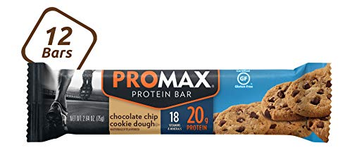 Promax Chocolate Chip Cookie Dough, 20g High Protein, No Artificial Ingredients, Gluten Free, 12 Count