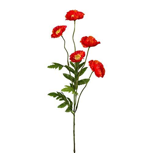 Kunstpflanze Mohnzweig, 3er Set, Farbe orange, Höhe ca. 63 cm