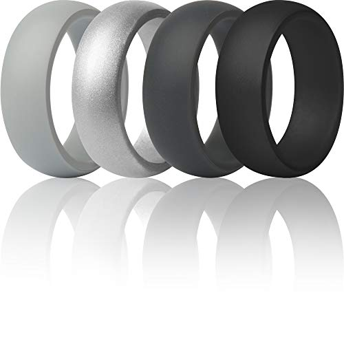 ThunderFit Silicone Rings, 7 Rings / 4 Rings / 1 Ring Wedding Bands for Men - 8.7 mm Wide - 2.5mm Thick 12.5 - 13 (22.2mm)