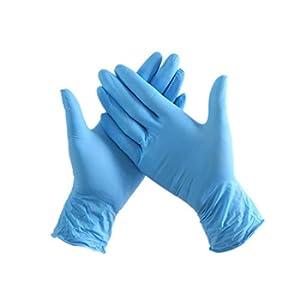 SHOUPI 100pz / Pacco Guanti monouso Blu in Nitrile Guanti Resistenti agli esami Impermeabili ad Alta Resistenza Non ambidestri ambidestri per Guanti per Uso Medico
