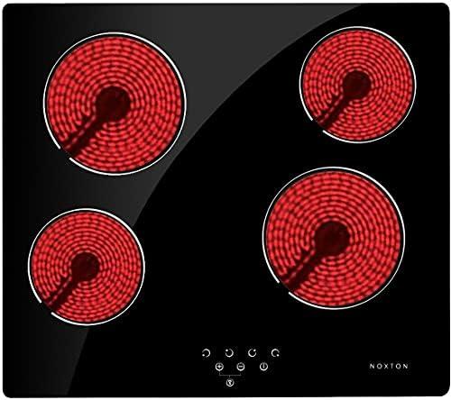 NOXTON 4 Kochzonen Einbaus Cerankochfeld, Mehrkreiskochzone mit Kindersicherung, 9 Heizstufen mit Touch-Steuerung, Geeignet für alle Pfannen [Energieklasse A +]