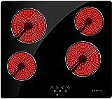 NOXTON 4 fuochi piano cottura vetroceramica elettrico 60 cm con sensore Touch Control [Classe di efficienza energetica A+]