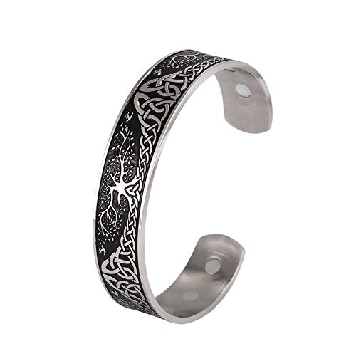 LUSSO Stainless Steel World Tree of Life Health Care Viking Celtic Knot Cuff Bangle Bracelet for Women Men (Vintage Silver)