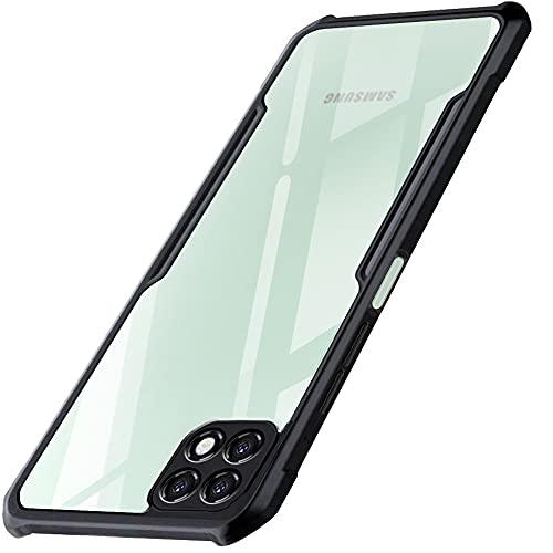 TheGiftKart Shockproof Crystal Clear Samsung Galaxy A22 5G Back Cover Case   360 Degree Protection   Protective Design   Transparent Back Cover Case for Samsung Galaxy A22 5G (Black Bumper)