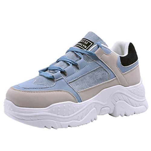 ZARLLE Zapatos de Plataforma para Mujer,Fondo Grueso Zapatos Deportivos,Modelos Salvajes Zapatos Planos Cabeza,Redonda Zapatos con Cordones
