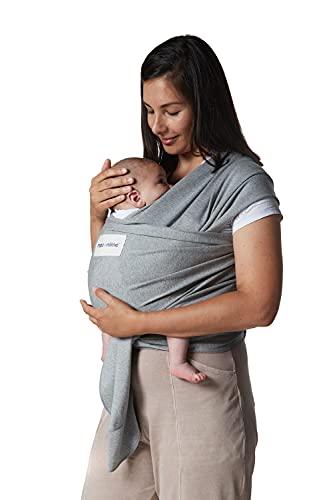 Fular portabebé elástico y ajustable, hasta 16 kg, tejido suave al tacto, porteo recién nacidos. (Gris)