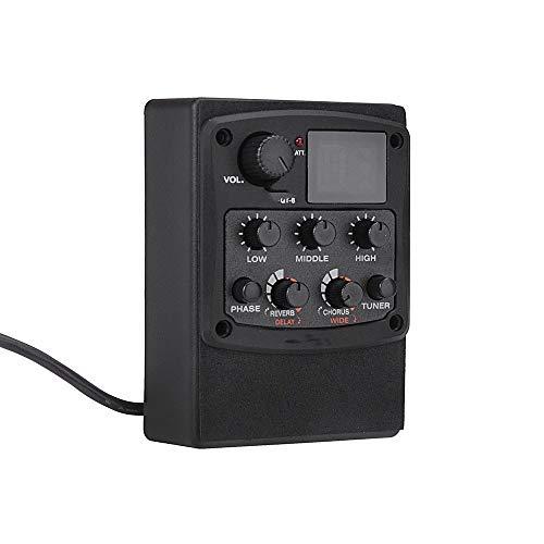 Mini-Piezo-Wandler Gitarre-Vorverstärker-Piezo-Tonabnehmer 3-Band Equalizer LCD Turner mit Reverb Delay-Chorus Breiten Effekt Schwarz Abholkontakt (Color : Black, Size : One Size)