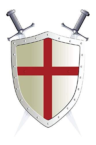 SHUANGBING Decoracion Escultura Estatua Caballero Templario Orden Bandera150X90Cm Banner Vertical Personalizado Latón Agujeros Metálicos Ojales Masónico Mason Espada Escudo