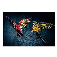 """キャンバスアート絵画モダンな美しいオウム動物のポスターとプリントリビングルームの装飾のための壁のアート写真27.5"""" x35.4""""(70x90cm)フレームレス"""