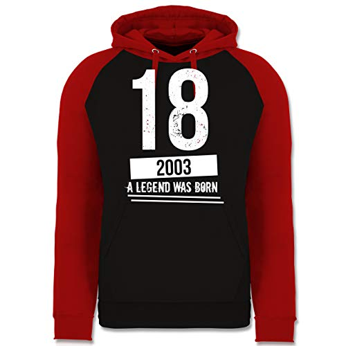 Shirtracer Geburtstag - 18 Geburtstag Jungs 2003 - Vintage Motiv - XL - Schwarz/Rot - Geschenk für Junge männer - JH009 - Baseball Hoodie