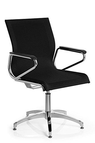 hjh OFFICE 660620 Konferenzstuhl ASTONA V Stoff Schwarz Stuhl Besucherstuhl mit Rückholautomatik, Bodengleiter, Armlehnen