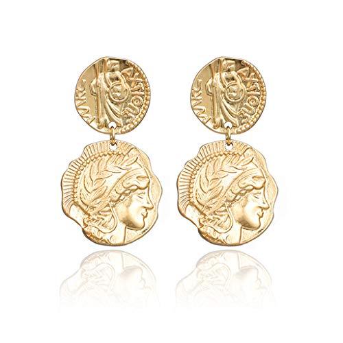 Njuyd - Pendientes de moda para mujer, diseño barroco con moneda de oro envejecido, estilo Medusa, joyería de moda