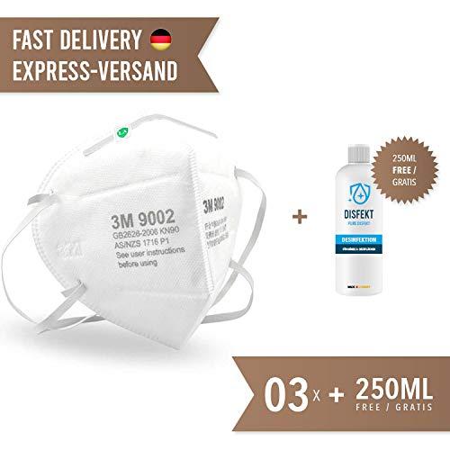 3x 3M 9002 - Maschera di protezione per la bocca con potenza del filtro 90%, flacone incluso