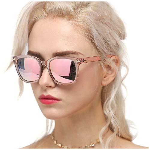 Myiaur Fashion Sonnenbrillen für Frauen Polarized Driving Anti Glare 100% UV-Schutz Stilvolles Design (Rosa Rahmen/Mode rosa Linse)