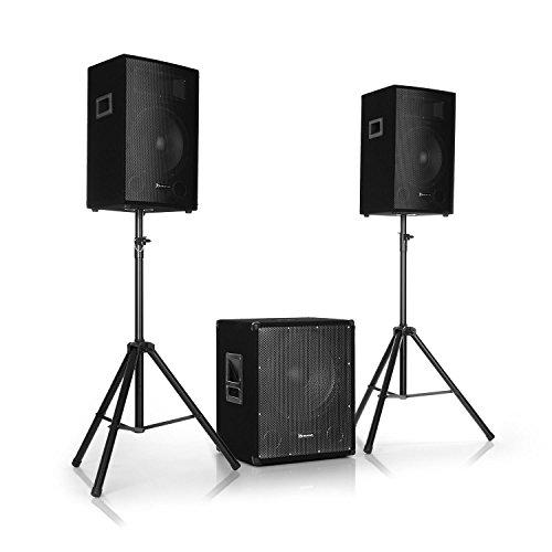 """auna Cube 1512-2.1 Aktiv PA-Set, 1200 W Gesamtleistung, 38 cm (15\"""") Subwoofer, 2 x 30 cm (12\"""") Lautsprecher, Bi-Amping Technologie, Echo, Bass- und Treble-Control, inkl. Zubehör, schwarz"""