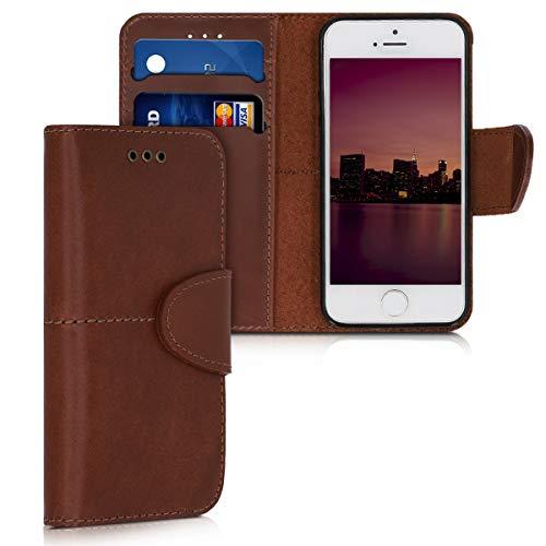 kalibri Funda Compatible con Apple iPhone SE (1.Gen 2016) / 5 / 5S de Cuero - Carcasa con Tapa y Espacio para Tarjetas - marrón Oscuro
