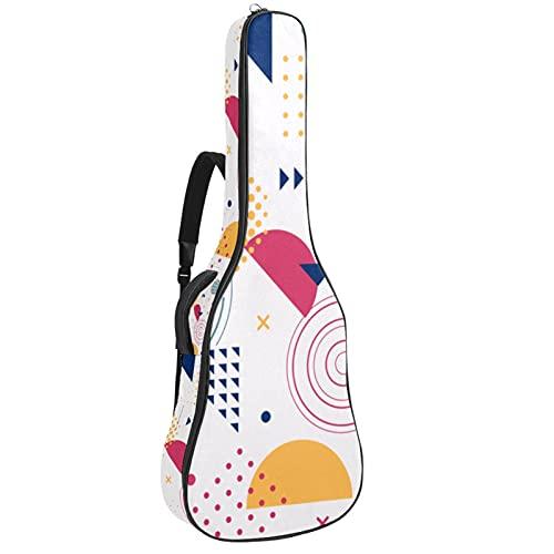 Paquete de guitarra acústica para principiantes, tamaño completo, con tapa de abeto, para guitarra acústica, con formas geométricas coloridas de Memphis de 108,9 x 42,8 x 11,9 cm