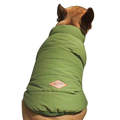 Rantow Chien Polaire Confortable Polaire doublée Veste Manteau Chiot Boutons d'hiver Chaud Gilet Costume vêtements pour Chihuahua Corgi Bulldog (S, Green)