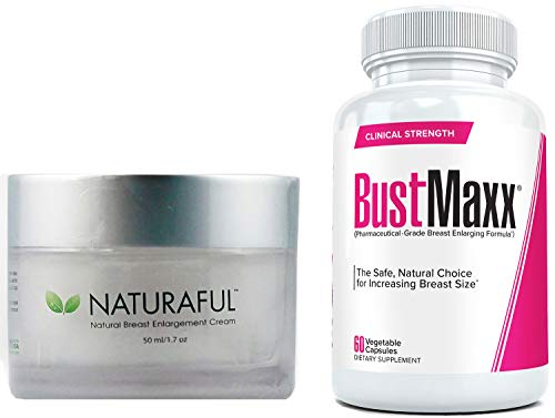 Naturaful (1 Jar) & BustMaxx (60 caps): The Ultimate Breast Enhancement Bundle for Jaw-Dropping Results | Breast Enlargement Pills and Cream for Women |Natural Growth Without Dangerous Surgery