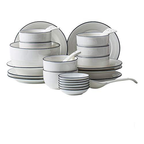 SMEJS Cfcjtz Conjunto de Juegos de vajilla de cerámica, Conjunto de vajillas para el hogar, 9 Piezas de Placas de Placas, Servicio para 4, Adecuado para cenar o almuerzos (Color : D)