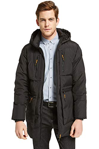 Orolay Men's Thickened Down Jacket Classical Winter Hooded Coats with Multiple Pockets Black M