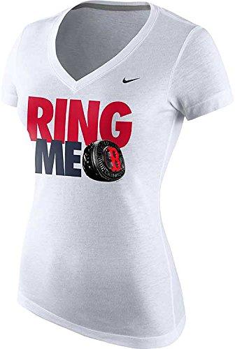 Nike Women's Boston Red Sox Ring Me MLB World Series Champions Vneck T-Shirt (XL, White)