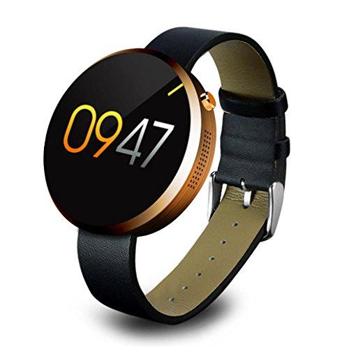 Fulltime® DM360 Heart Rate Monitor Smartwatch Tracker Bluetooth für iOS Android Runde Edelstahl Gehäuse IP53 wasserdicht mit echtem Leder Armband (Gold)