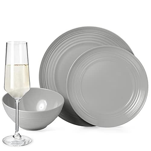 Juego de vajilla antideslizante de melamina para camping, color gris, para 4 personas, 16 piezas + 4 vasos Milano Champgner para flautas, picnic, barbacoa, utensilios de cocina