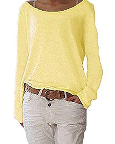 Aoweite Damen Langarm T-Shirt Rundhals Pullover Beiläufige Bluse Hemd Sweatshirt Oberteil Tops (S, Gelb)